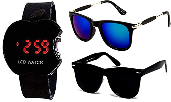 6b4b89c054f Image Unavailable. Image not available for. Colour  Y S Golden Frame Black  Glass Aviator   Full Black Wayfarer Unisex Sunglasses ...