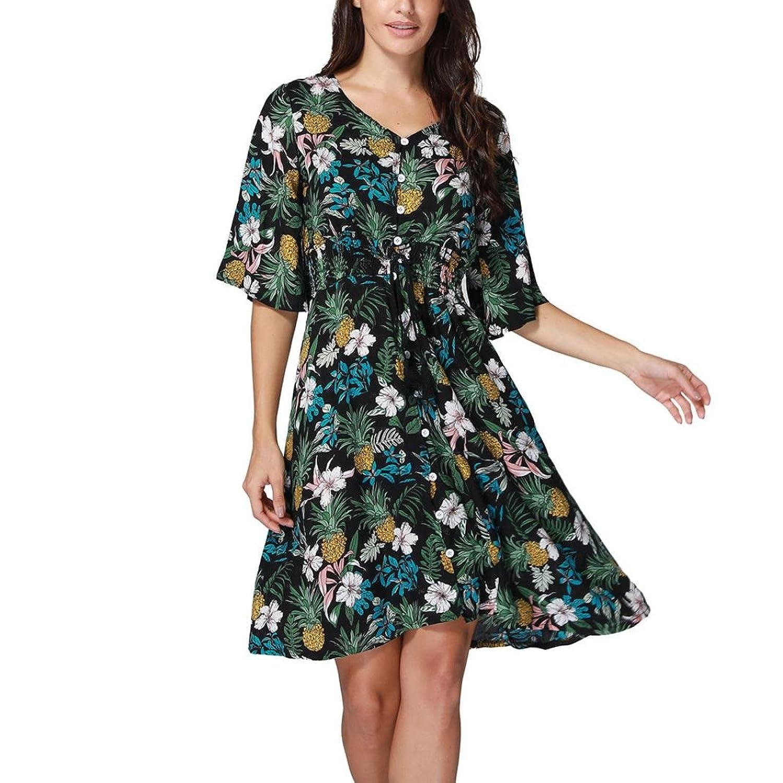 56f282c0a Womens Summer Boho Long Maxi Evening Party Dress Beach Dresses Sundress  Women's Sleeveless Printed Flower Style Casual Floral Mini Dress Women's  Halter Neck ...