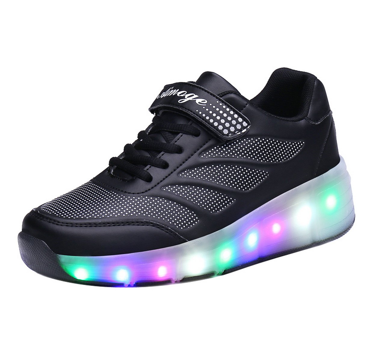 FOUPLER Girl's Boy's LED Light Single Wheel Roller Shoes Kids Skate Sneaker 02Black 1/32