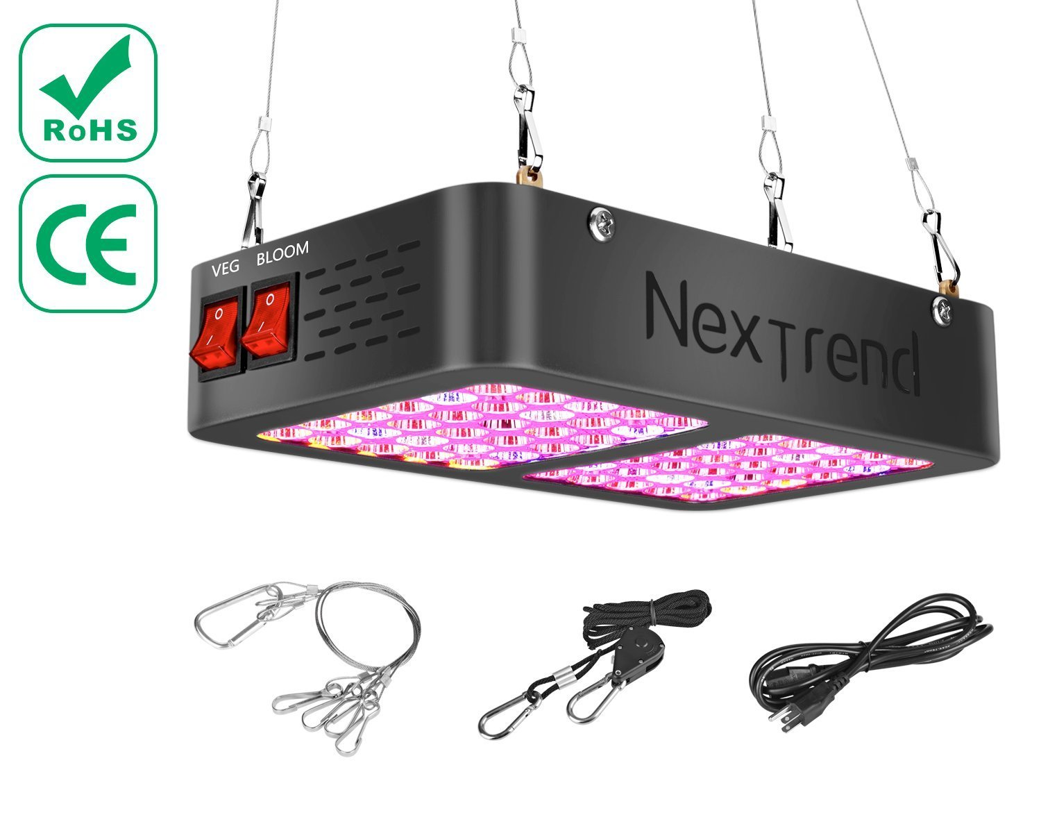 NexTrend LED Grow Light 300W, Double Chips Full Spectrum Grow Lamp Optimal Led 60° COB Reflector For Horticulture Hydroponics Indoor Plants Veg and Flower, Added Daisy Chain Design (Actual Power)