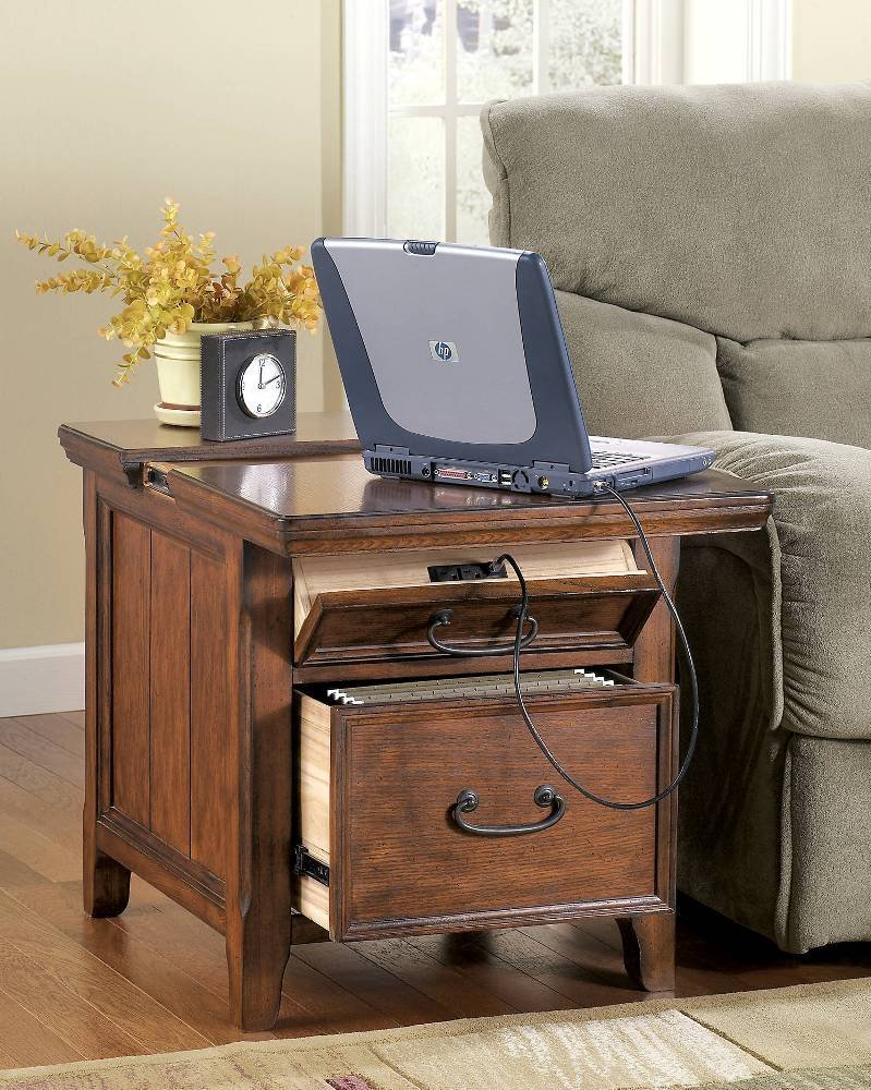 Ashley Furniture Signature Design - Woodboro Media End Table - 2 Drawers and Top Drop Door with Power and Internet Ports - Dark Brown