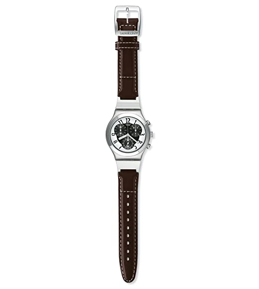 Swatch Herren Irony Chrono DOUBLE LEVEL YCS109 - Reloj de caballero de cuarzo, correa de piel color negro: Amazon.es: Relojes