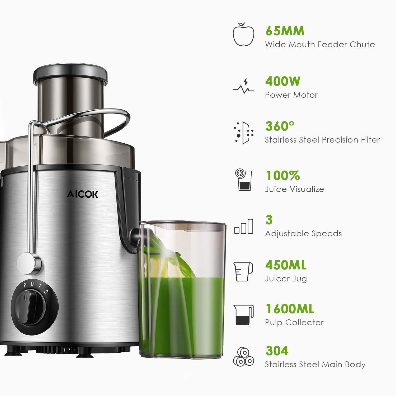AICOK- Licuadoras para Verduras y Frutas Acero Inoxidable Libre de BPA Cuenta con 3 Velocidades Licuadora Exprimidora de Boca Ancha de 65mm Pie y Base Antideslizante