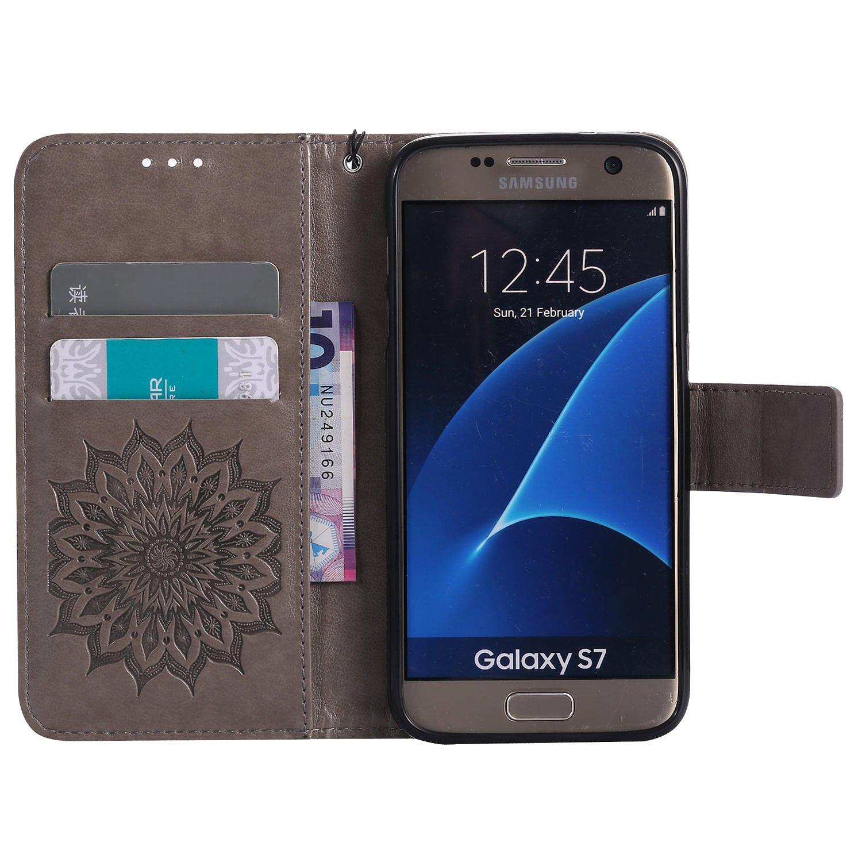 8FF Staubstecker f/ür Smartphone Samsung Galaxy S7 H/ülle,Echt Leder Tasche f/ür Samsung Galaxy S7 Flip Cover Handyh/ülle Bookstyle mit Magnet Kartenf/ächer Standfunktion