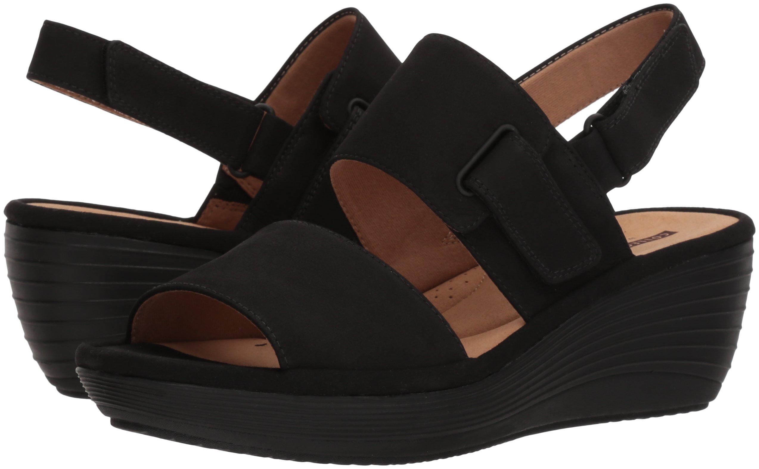09a6fb2f CLARKS Women's Reedly Breen Wedge Sandal, Black Nubuck, 8 Medium US -  26133952-2-8 Medium US < Platforms & Wedges < Clothing, Shoes & Jewelry -  tibs