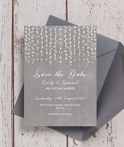 newest b4f2c bbd2d Personalised Dove Grey Fairy Lights Wedding Save the Date ...