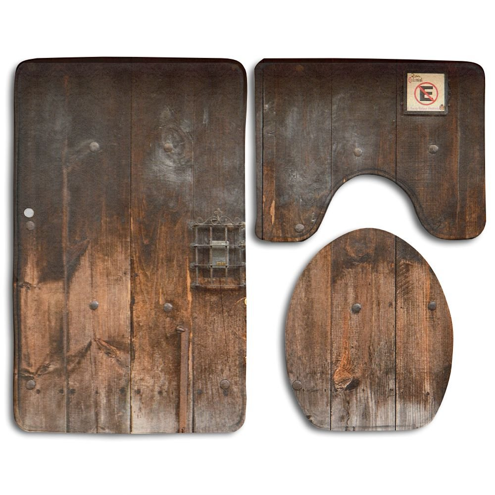 HOMESTORES 3 Piece Bathroom Rug Set - Rustic Country Wood Style Rustic Country Barn Wood Door Set Skidproof Toilet Bath Rug Mat U Shape Contour Lid Cover For Shower Spa
