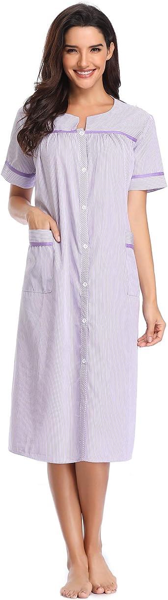I-Smalls donna morbido cotone stampa pulsante attraverso Manica lunga Tasca Camicia da notte