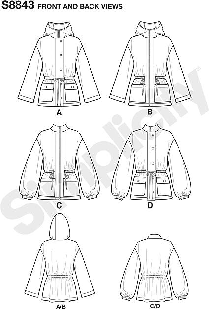 Xx x-Small-S-M AA Simplicity US8843AA Pattern S8843 Misses Anorak Jacket