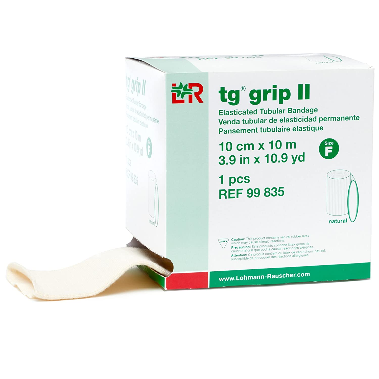 tg grip II Elasticated Tubular Compression Bandage, Seamless Tube Stockinette Wrap for Retention, Lymphedema, & Swelling, Natural, Size F