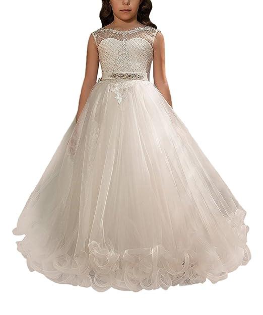 VIPbridal Vestidos largos de las muchachas de flor del cordón de la primera comunión para casarse