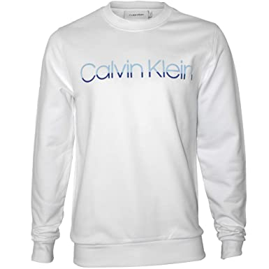 Calvin Klein Sudadera De Los Hombres del Equipo-Cuello del Insignia del Bloque, Blanco: Amazon.es: Ropa y accesorios