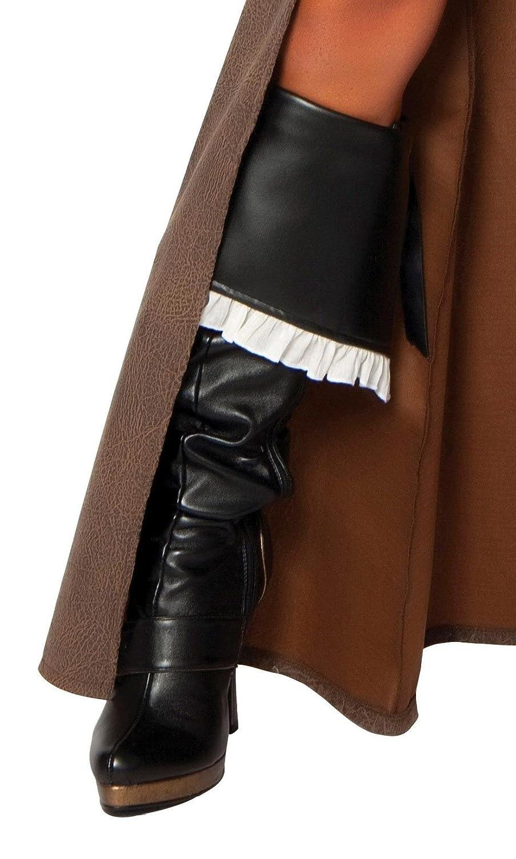 Women's White Ruffle Trim Black Pirate Captain Boot Cuffs - DeluxeAdultCostumes.com