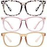 Blue Light Blocking Glasses-3Pack Computer Game Glasses Square Eyeglasses Frame, Blue Light Blocker Glasses for Women…
