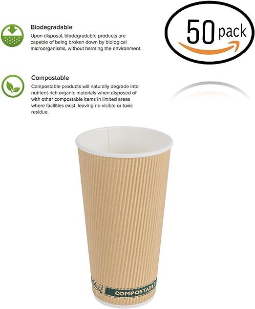 Tazas de café con tapas, sin mangas, Kraft, compostable y ...