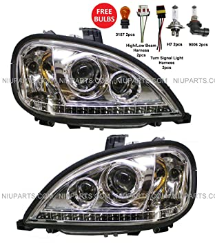Headlight with LED Strip at Bottom - Driver & Passenger Side (Fit:  Freightliner Columbia)