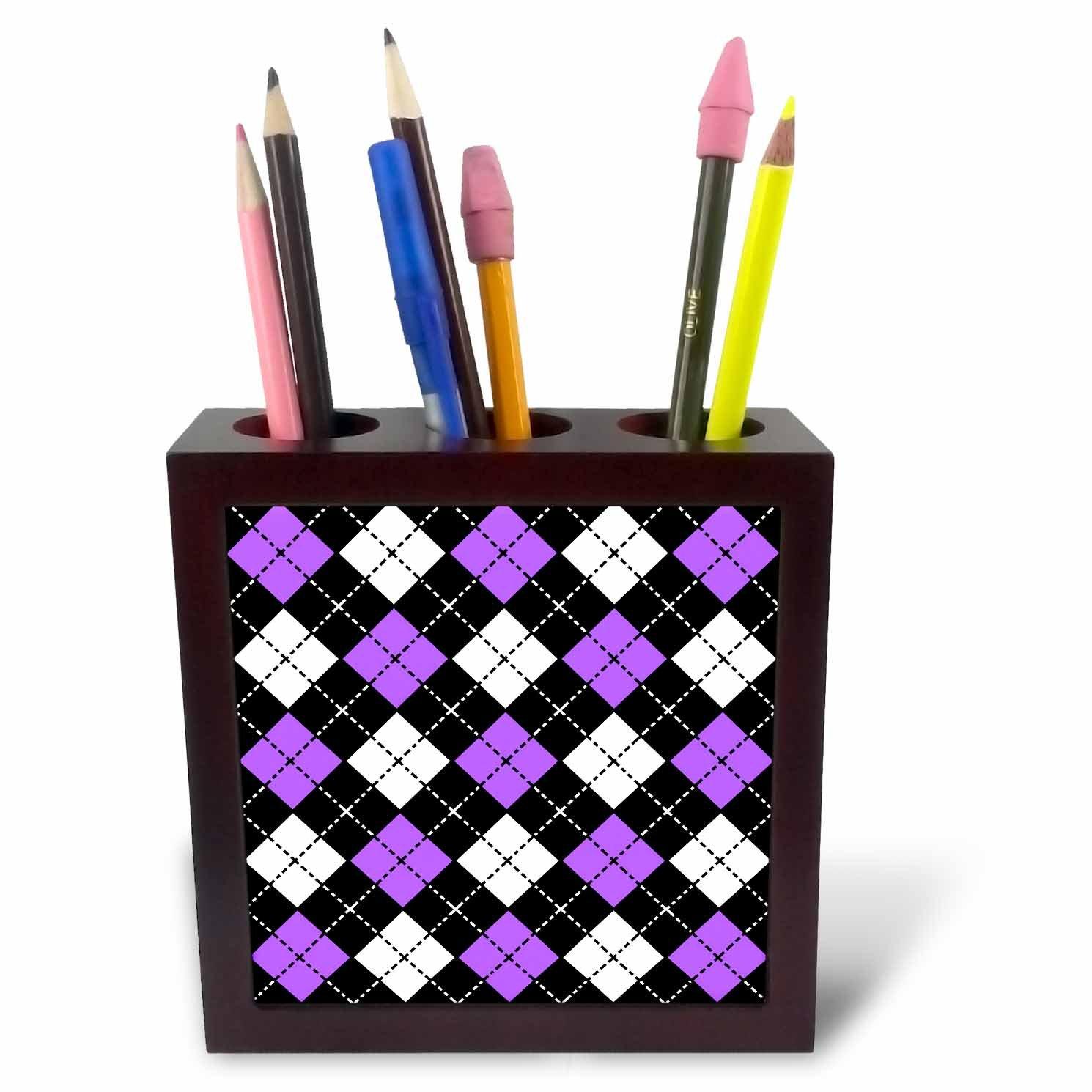 3dRose ph/_20417/_1 Argyle Design Purple Black White Tile Pen Holder 5-Inch