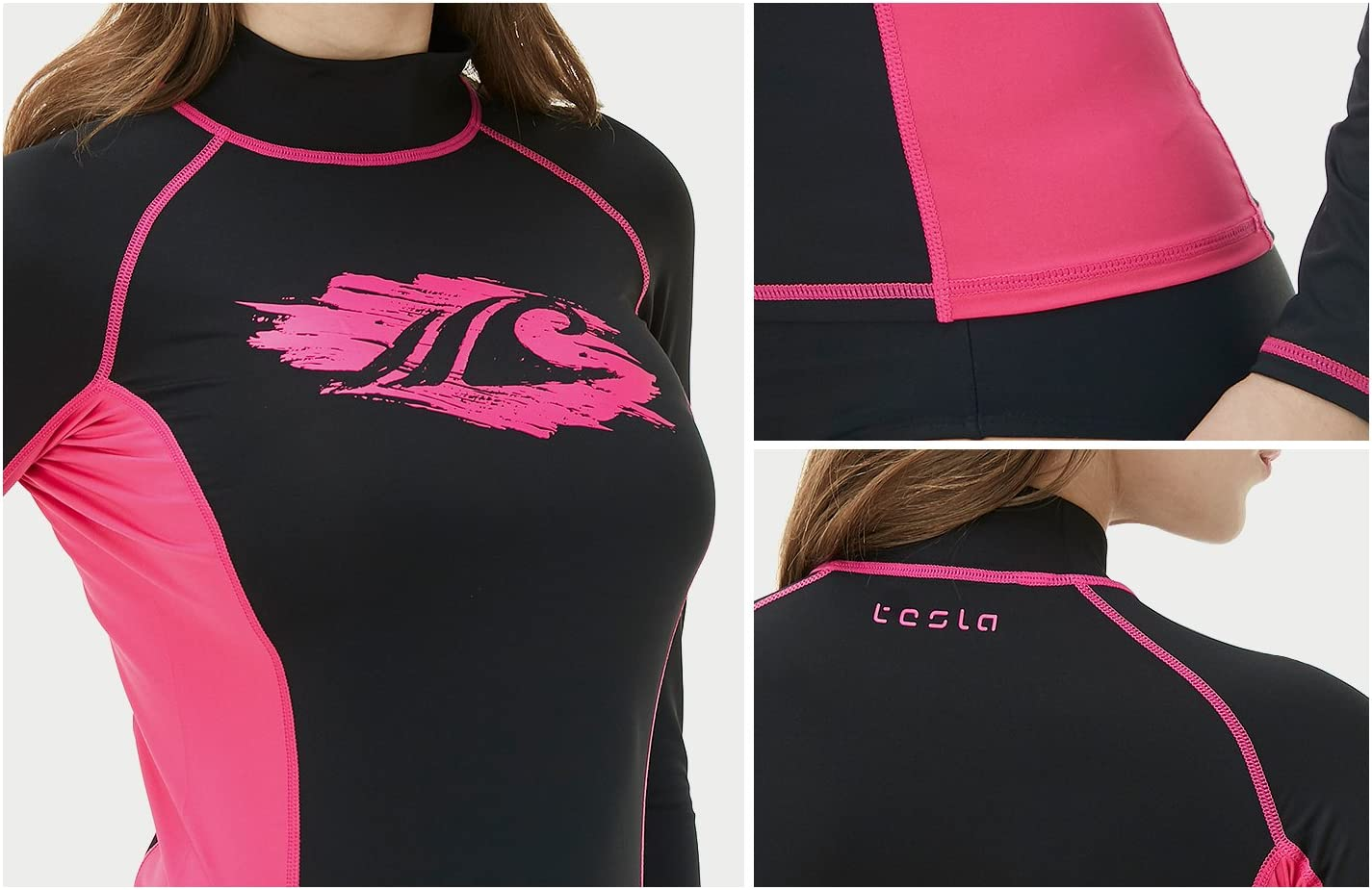 Slim-Fit Long Sleeve Athletic Rashguard TSLA Womens UPF 50