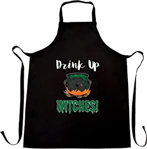 Halloween Chef's Apron Drink Up, Witches Cauldron Black One Size