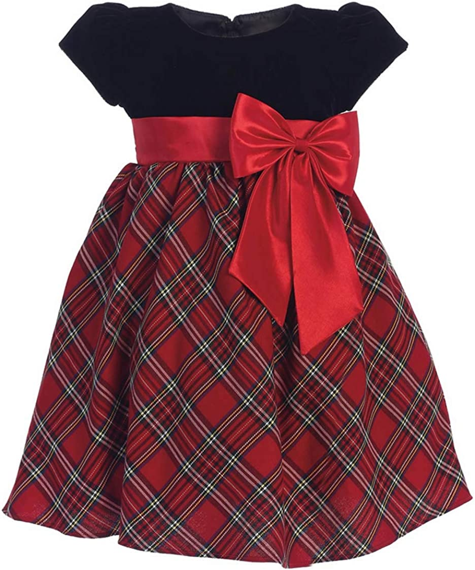 Amazon.com: Girls Red Plaid Holiday Christmas Dress: Clothing