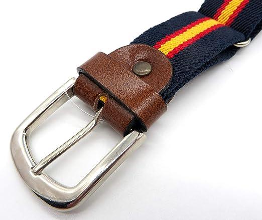 Cinturón de lona y piel con la bandera de España | Talla única ...