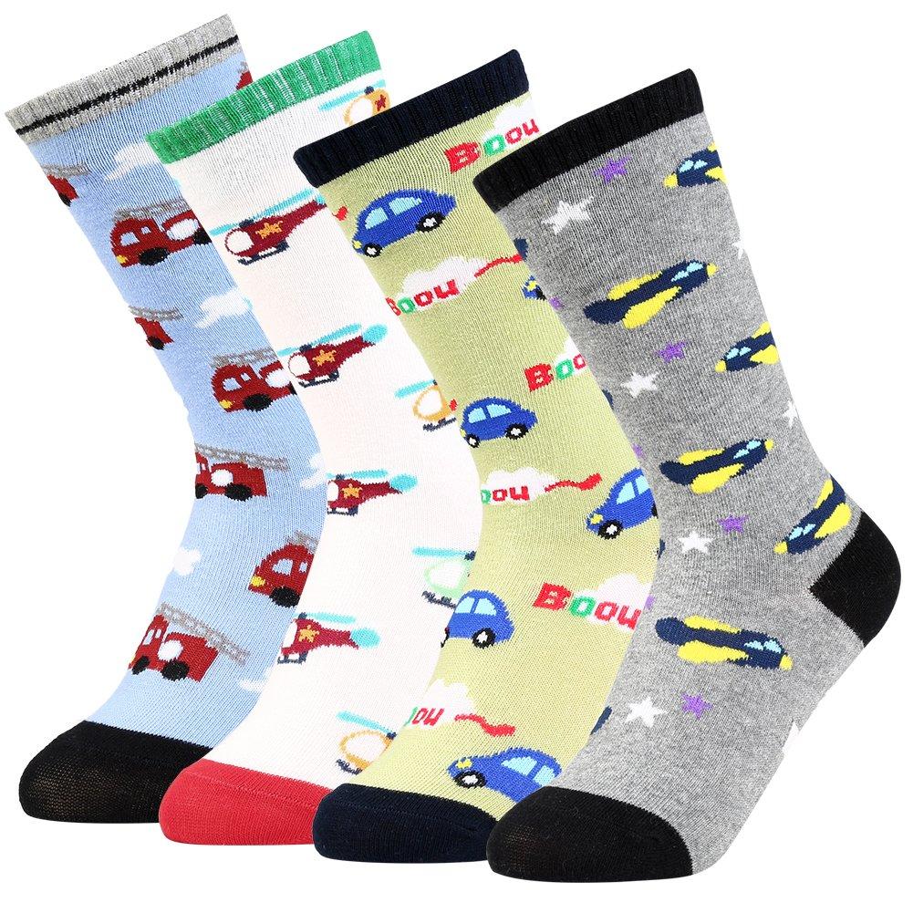 VBIGER 3/4 Pairs Toddler Boys Thick Winter Socks Warm Thermal Socks Knee High Cotton Socks Anti-Slip Grip Floor Stockings, Aged 3-5