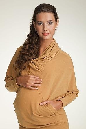 a0071bd8eacbb Mama Ija Dolman Sleeves Cowl Neck Detail Maternity Sweater (Medium ...
