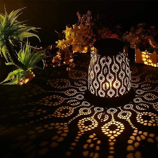 Volwco Farol solares Exterior Jardin, Colgante Lámpara de Metal de ...