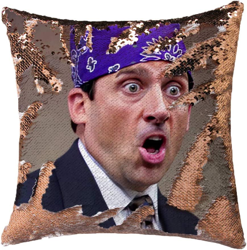 Jiamos The Office Gifts Michael Scott Sequin Pillow Cover Magic Reversible Throw Pillow Case Cushion Cover Change Color Funny Gag Gifts 16x16 inches,No Filler(Champagne Gold)