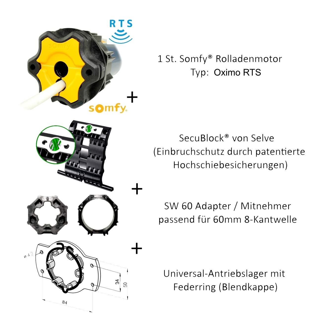 Einbruchschutz durch 3 Hochschiebesicherungen Oximo RTS 10//17 Motorlager Funk Rollladenmotor Somfy/® Oximo 50 RTS inkl Anschlusskabel und SW 60 Adapter//Mitnehmer.