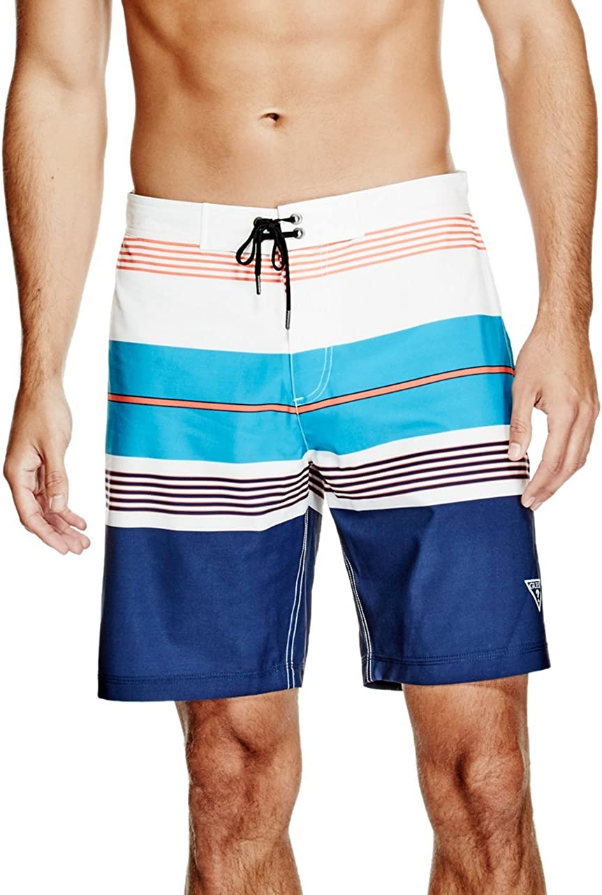 GUESS Men's Stripe 18 Inch Fixed Waist Swim Trunk