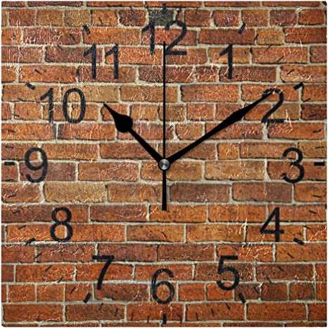 Xianghefu Square Wall Clock 8x8 Inches Ornamental Brick Wall Home Office School Non Ticking Decorative Home Kitchen