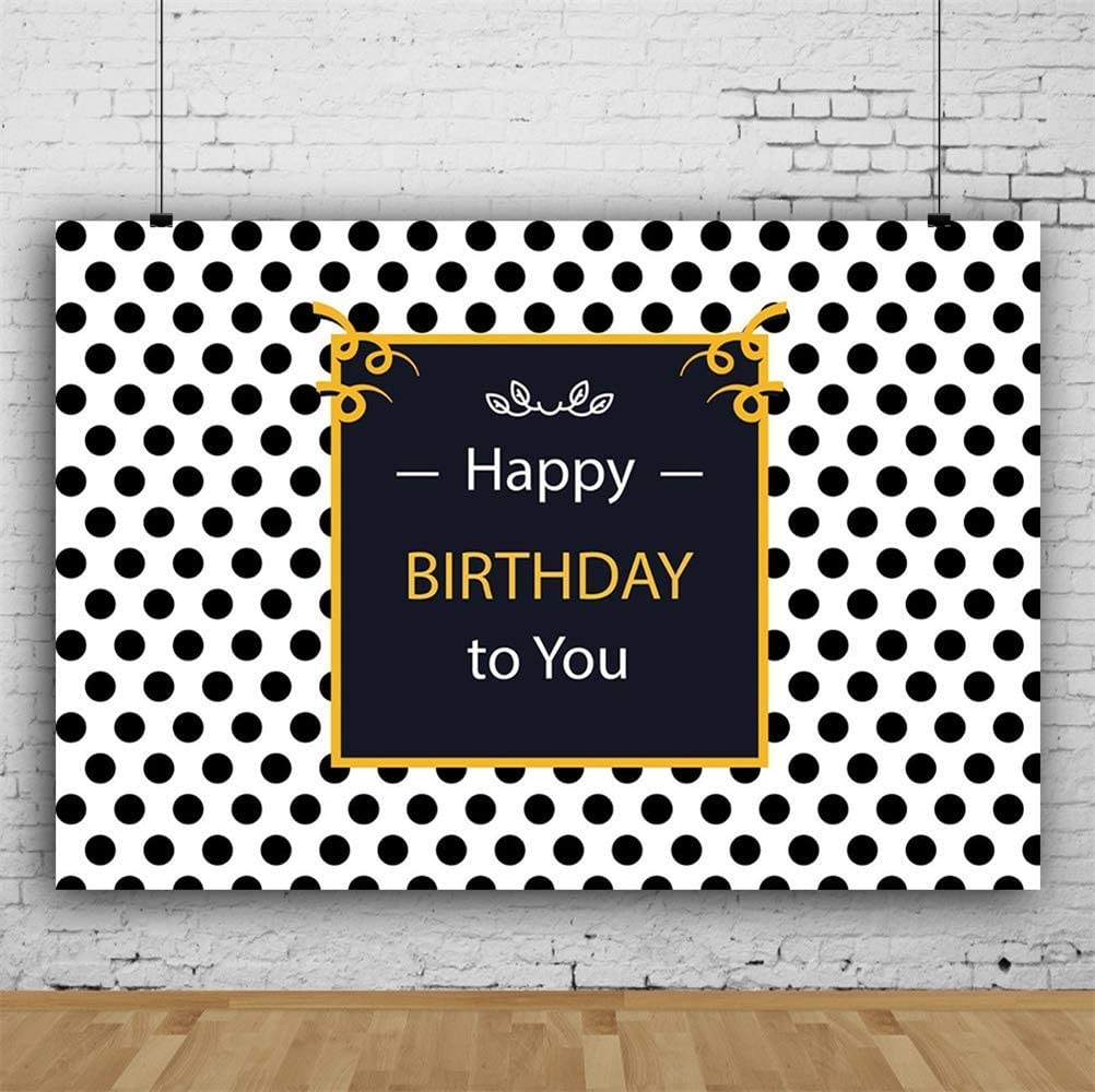 GoEoo 10x7ft Happy Birthday Vinyl Photography Background Square Black Banner with Yellow Frame Black Polka Dots Backdrop Child Kids Baby Adult Birthday Party Banner Studio Props Wallpaper