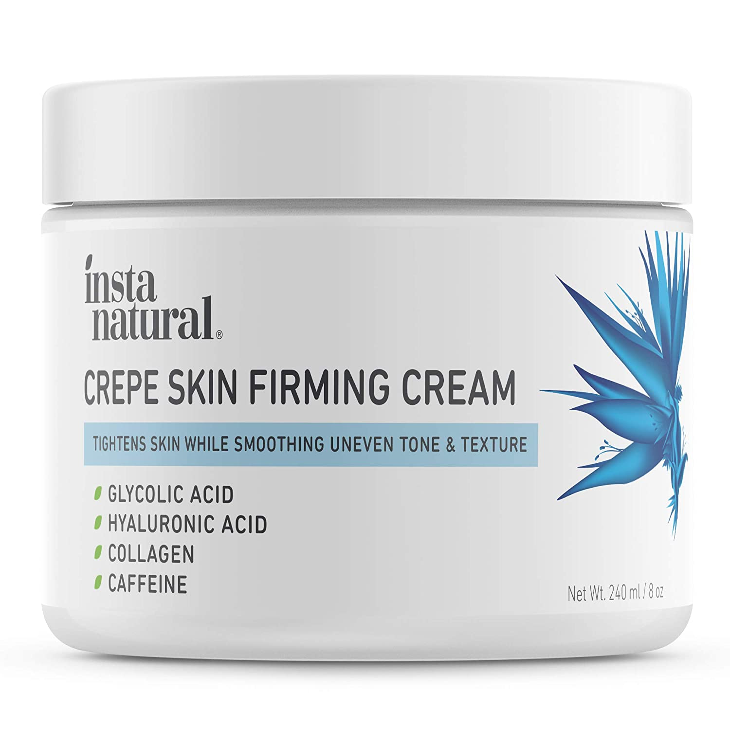 Crepe Firming Cream for Neck, Chest, Legs & Arms – Tightening & Lifting, Anti-Aging, Anti-Wrinkle, Collagen Skin Repair Treatment - Made With Hyaluronic Acid, Alpha Hydroxy & Caffeine – 8 oz: Beauty