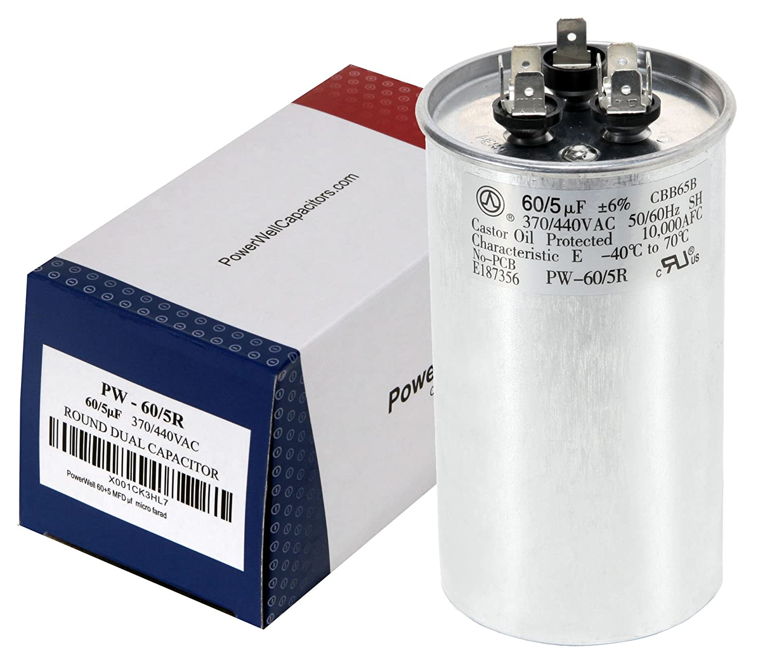 60+5 MFD uf Micro Farad 370 or 440 Volt Dual Run Round Capacitor  PW-60/5/370-440R for Condenser Straight Cool or Heat Pump Air Conditioner -  Guaranteed to ...