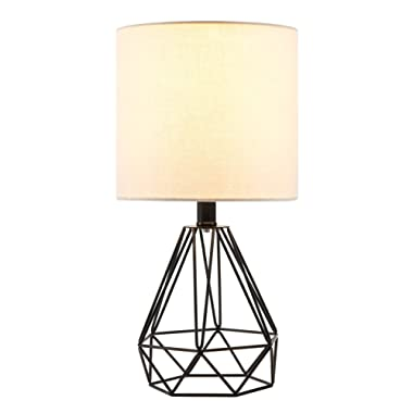 CO-Z Modern Table Lamp with White Fabric Shade, Desk Lamp with Hollowed Out Base 18 Inches in Height for Living Room Bedroom Dining Room