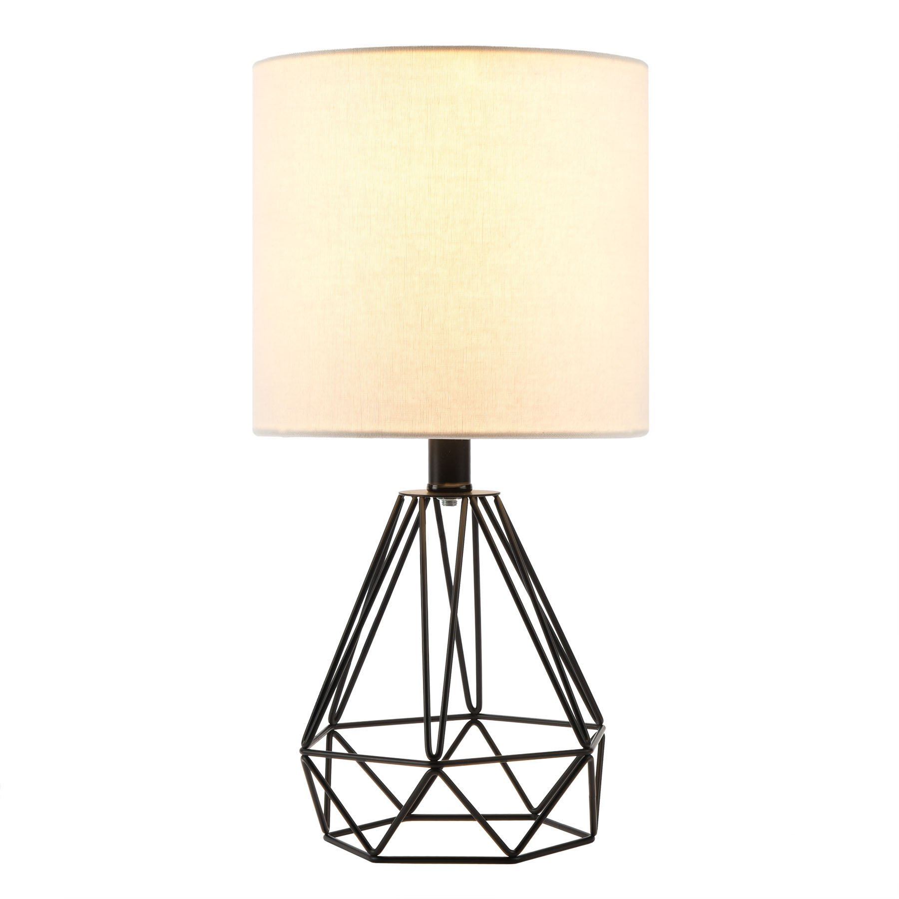CO-Z Table Lamp with White Fabric Shade, Desk Lamp with Hollowed Out Base 18 inches in Height for Living Room Bedroom Dining Room(Black Base) by CO-Z
