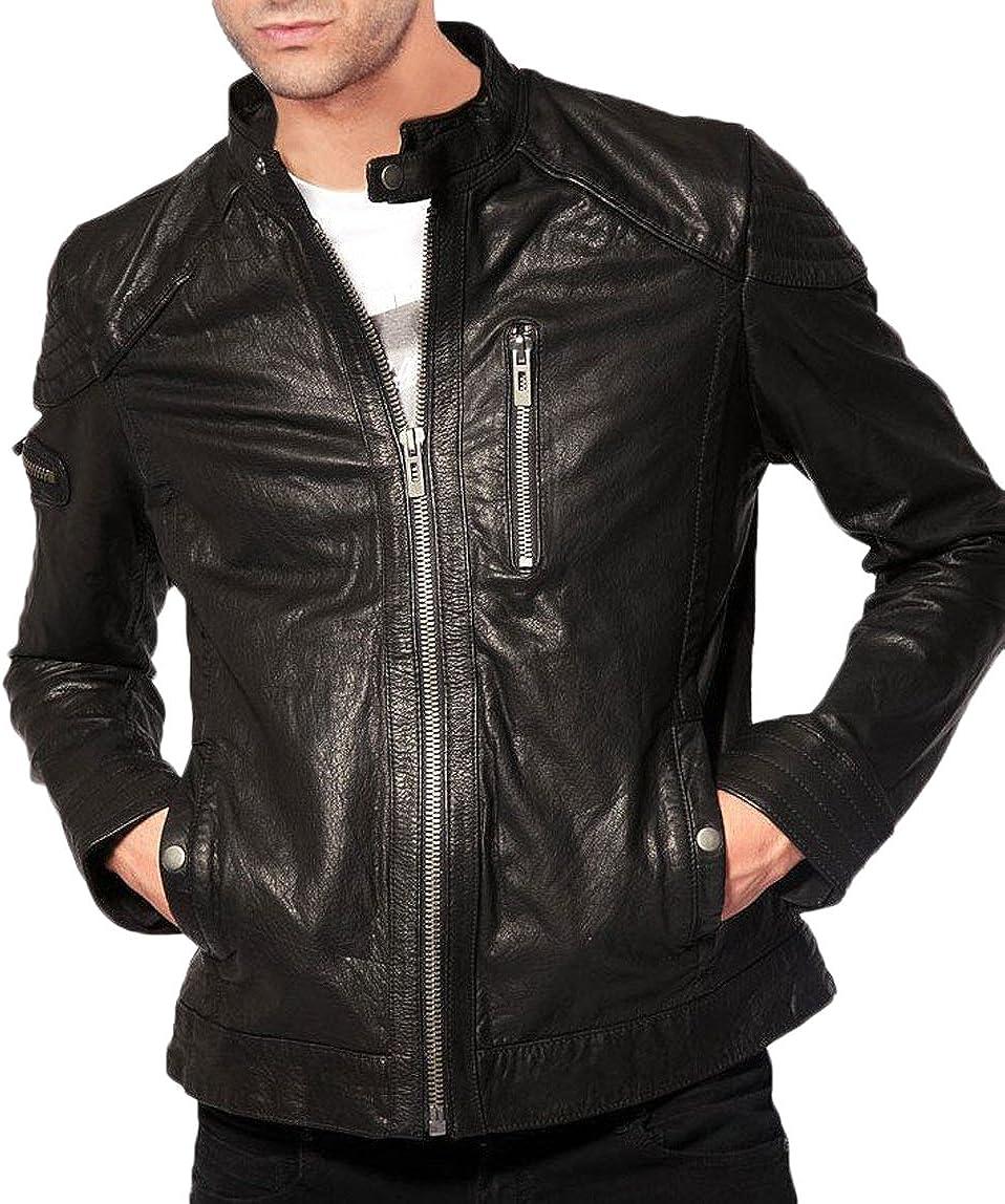 Men Leather Jacket Soft Cow Leather Slim Biker Bomber Coat LFC1320