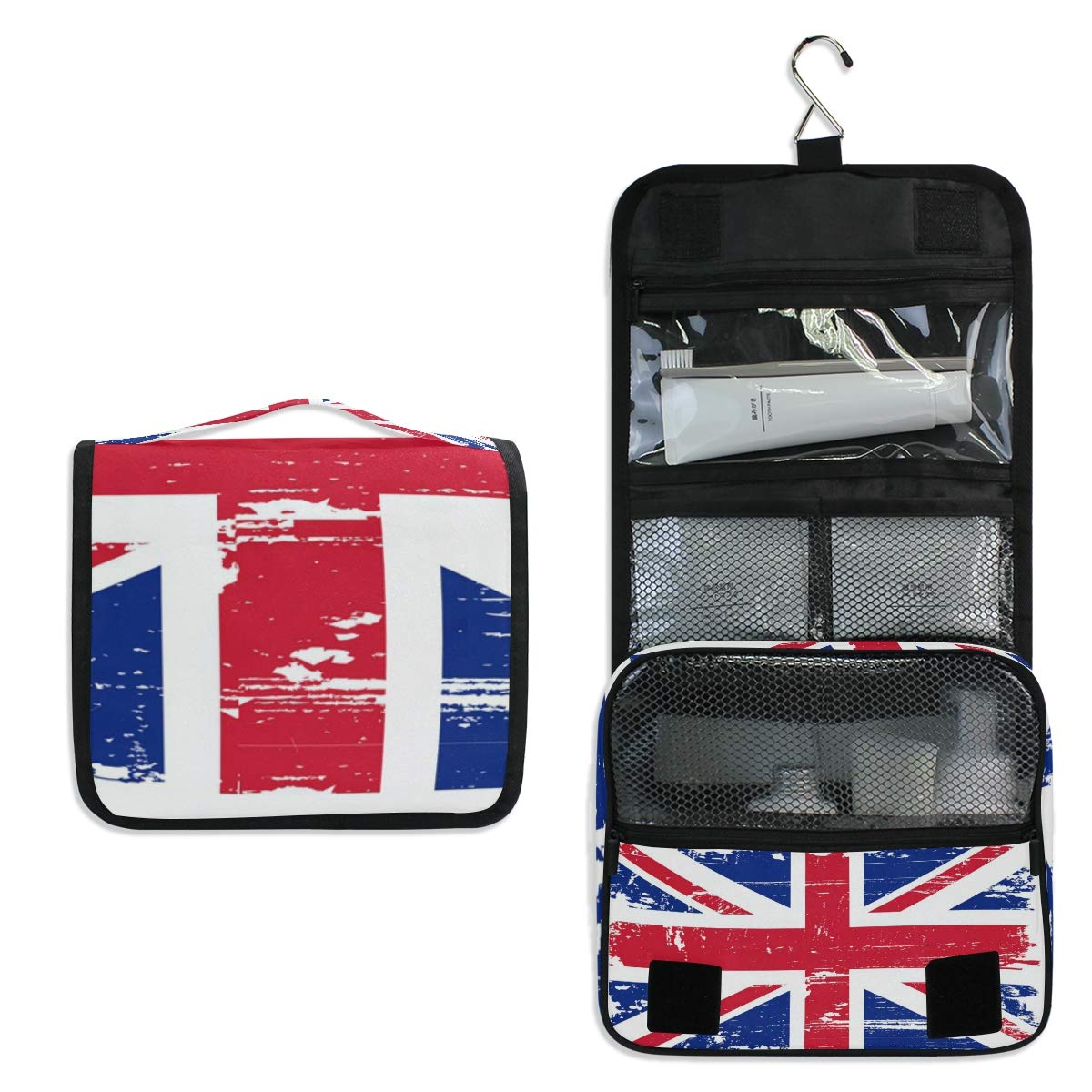 Hanging Travel Toiletry Bag - British Flag Cosmetic Makeup Bag Pouch Organizer for Women and Girls Waterproof