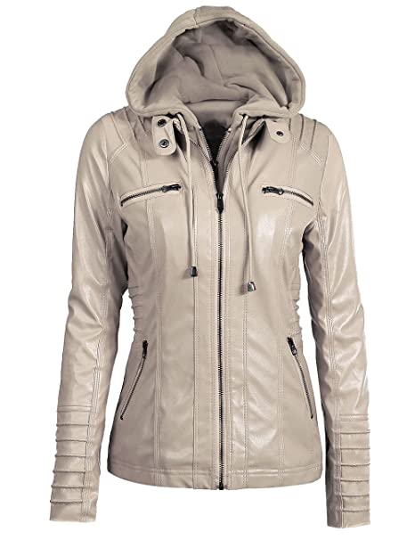 aa101cd02 Sexyshine Women's Zipper Up Removable Hooded Faux Leather Jacket Biker  Bomber Classic Vintage Winter Overcoat Outwear