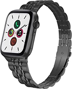Compatible with Ultra Thin Stainless Steel Metal Apple Watch Band 40mm Series 6 5 4 38mm Series 3 2 1, Yisdo Iwatch Bracelet Link Band Iphone Watch Band for Women (38mm/40mm, Black)