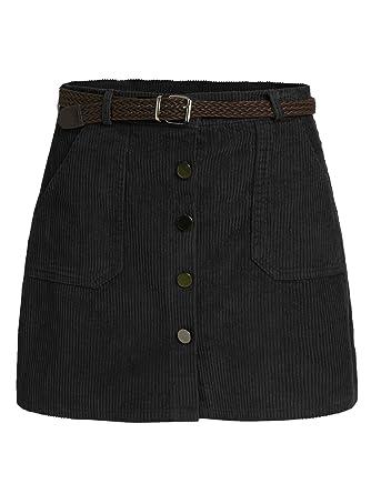 521a0972f0 Romwe Women's Cute Mini Corduroy Button Down Pocket Skirt with Belt Black S