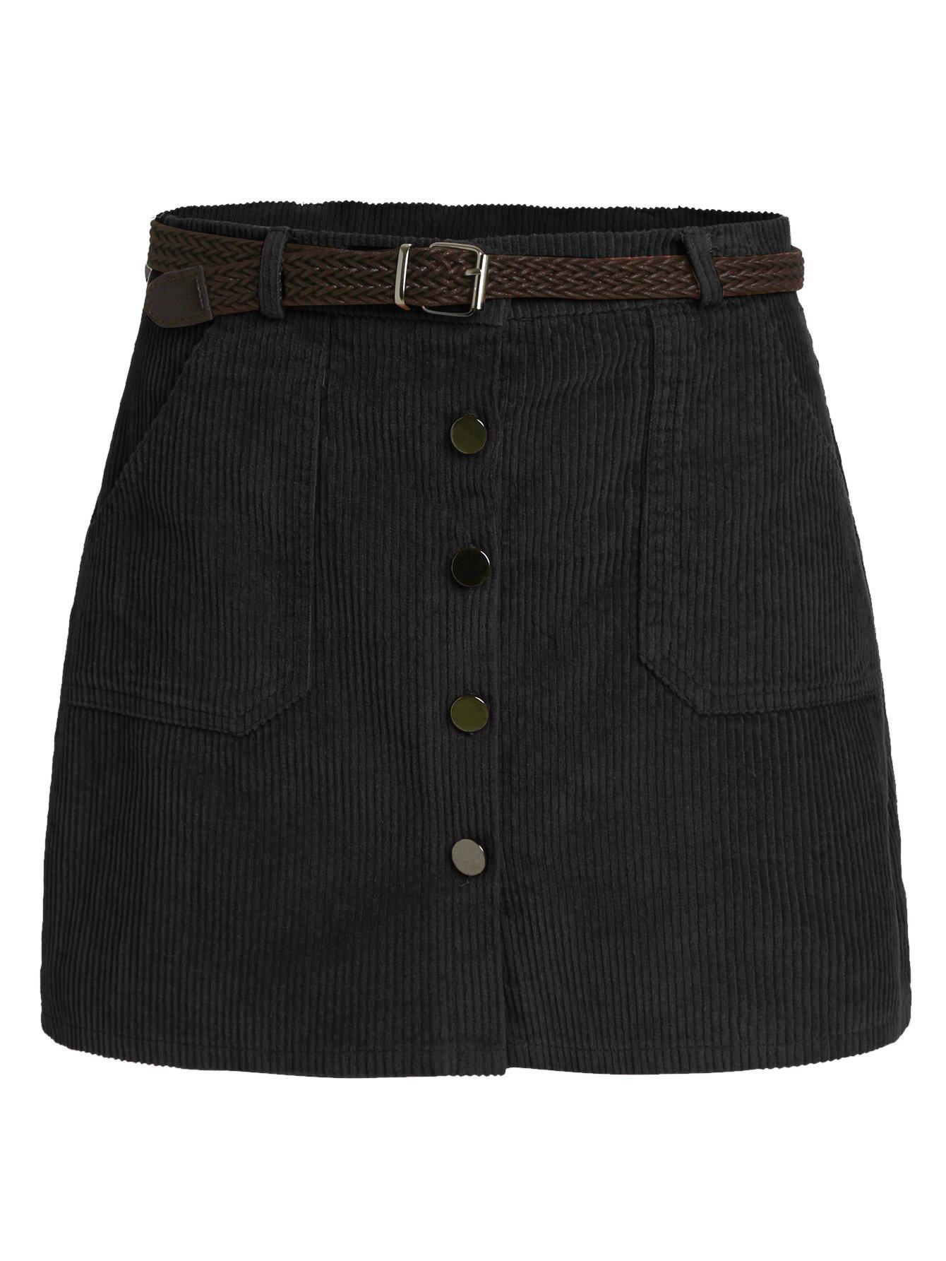 Romwe Women's Cute Mini Corduroy Button Down Pocket Skirt with Belt Black L