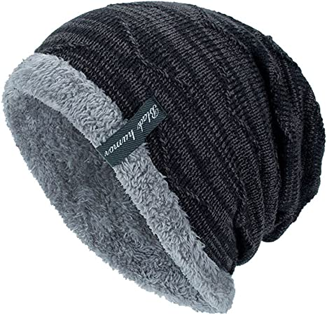 Mens Winter Slouchy Hat Plus Velvet Warm Knit Cap Silver Circle Style Dark Gray