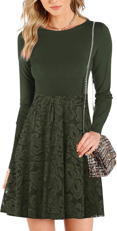 kenoce Women Cocktail Lace Dress Off Shoulder Maxi Dress Flare Swing Evening Loose Midi Dresses 1950s Vintage Long//Short Sleeve Knee-Length Party Dress