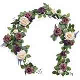 Ling's moment Handcrafted Artificial Dusty Rose Flower Garland 5FT for Wedding Centerpieces Ceremony Sign Aisle Arch Backdrop