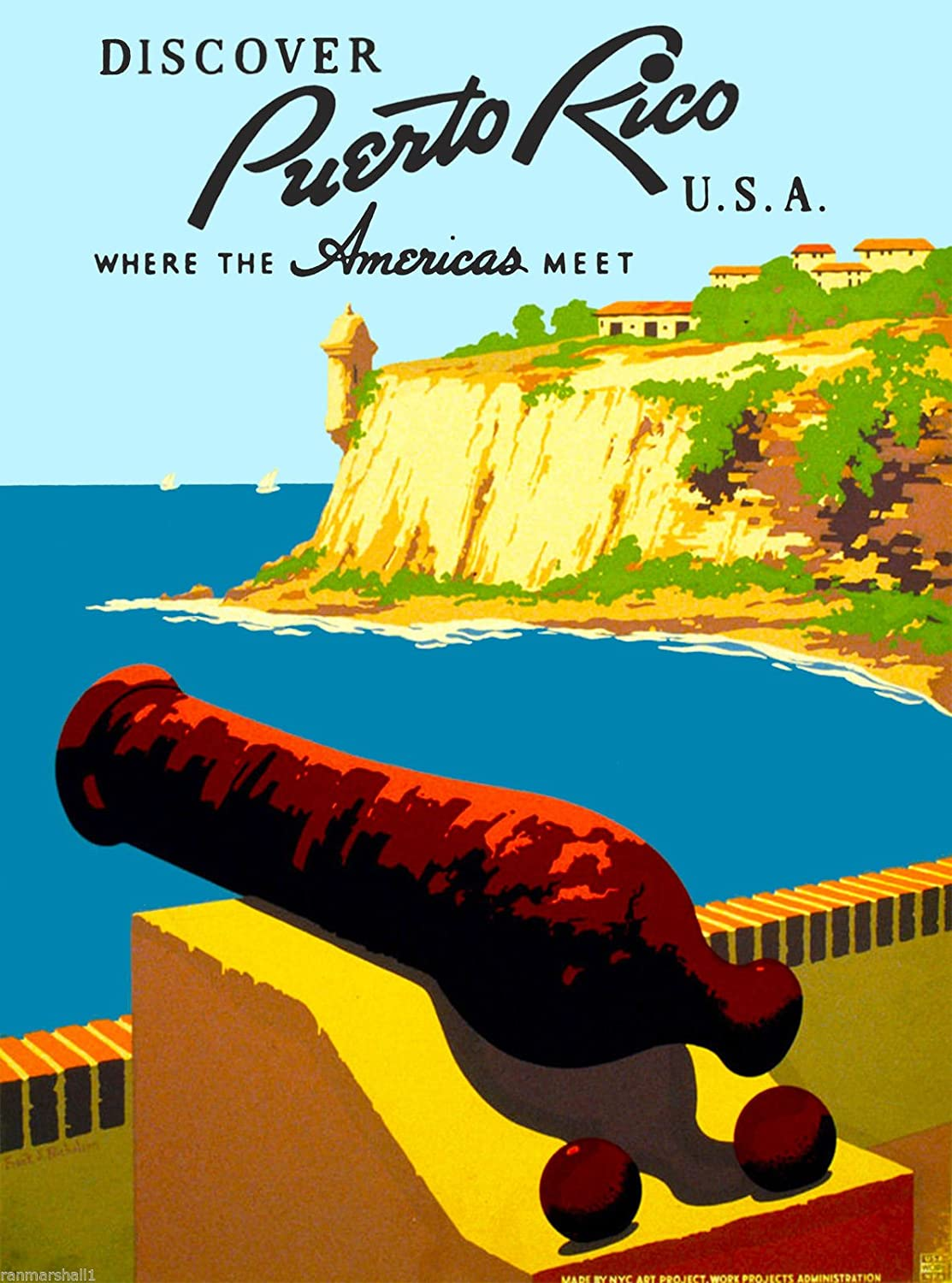A SLICE IN TIME 1930s Discover Puerto Rico United States Caribbean Island Vintage Travel Advertisement Art Collectible Wall Decor Poster Print. Measures 10 x 13.5 inches