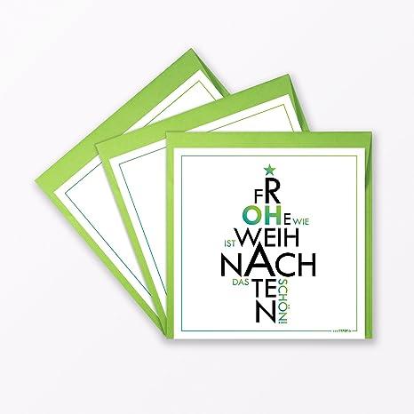 6 piezas Diseño Tarjetas de Navidad Cuadrado Incluye Sobres | Oh como es el Schön,
