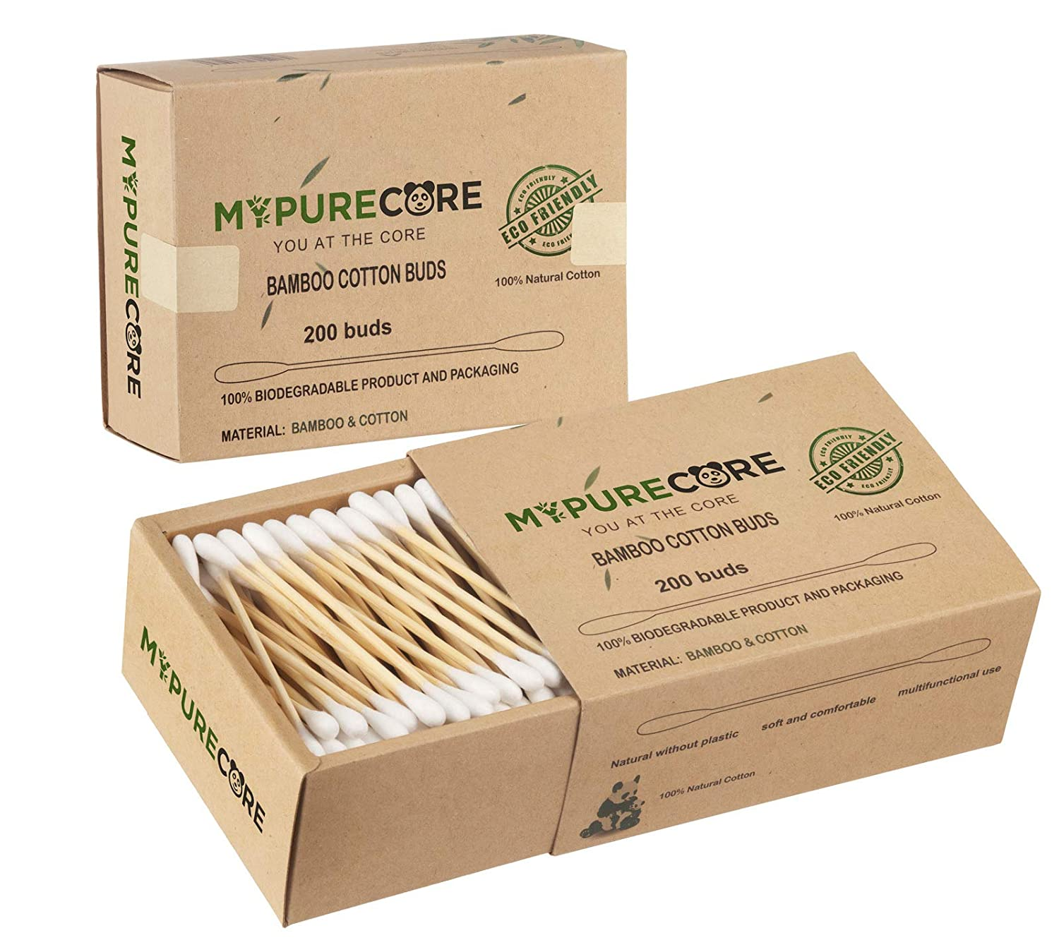 Beautiful Gentle Natural Bamboo Cotton Buds Set by MYPURECORE | 400 Biodegradable Eco Friendly Cotton Buds | Non Plastic Stick Cotton Buds | Vegan Bamboo Cotton Swaps | Perfect for the Whole Family