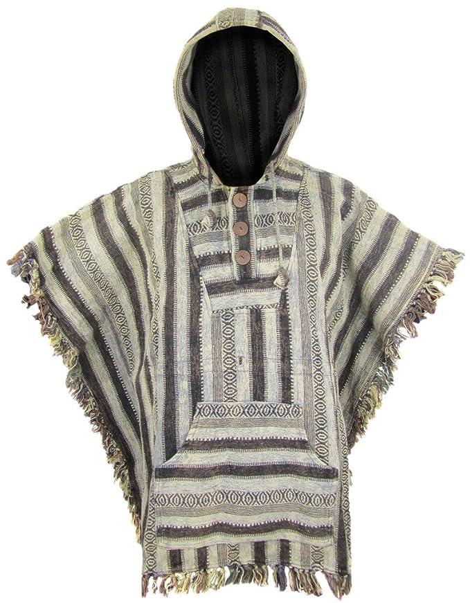 1 opinioni per LITTLE KATHMANDU, poncho con cappuccio e frange, in stile hippie/gipsy, in